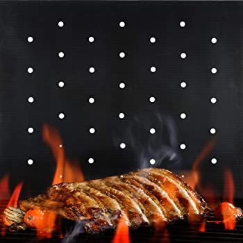 BBQ Grill Mat Non Stick - 2020 Upgraded Model With Holes - Set of 2 Heavy Duty Reusable and Dishwasher Safe Black Mesh Fireproof Topper Pads - Easy Clean and Easy Use on Gas Charcoal Electric Grills