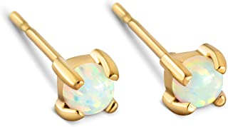 Stud Earrings Opal Studs - 14k Gold Dipped 3mm 6mm Tiny White Round Opals Faceted Studs Womens Stainless Steel Earring Pair Celebrity Approved