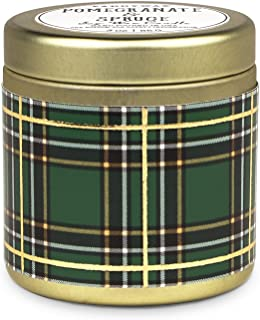 Paddywax Tartan Holiday Collection Scented Travel Tin Candle, 3-Ounce, Pomegranate & Spruce