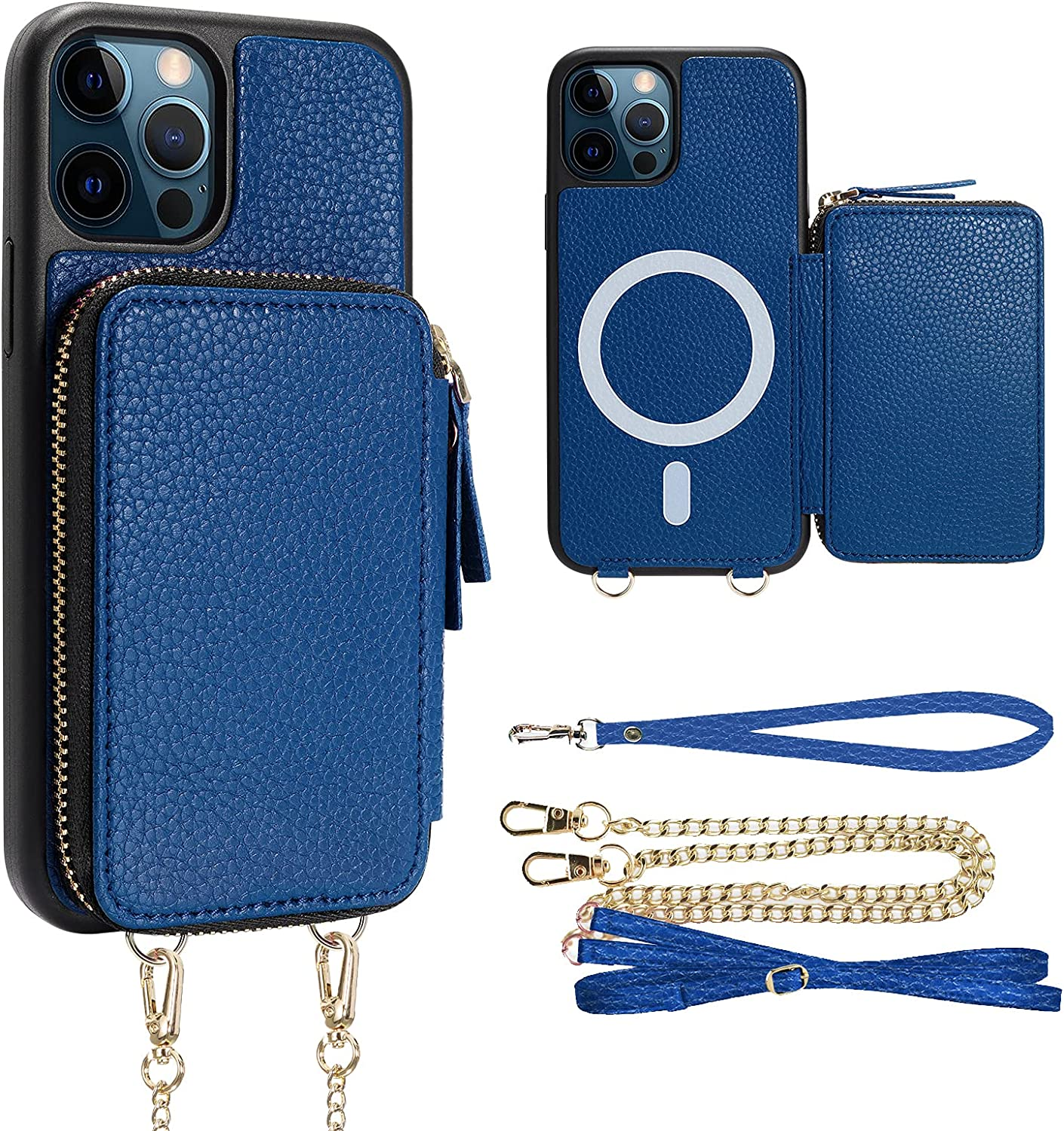ZVE iPhone 12 Pro Magnetic Wallet Case with Magsafe Charging for Women, iPhone 12 Card Holder Leather Crossbody Purse Cover Present with Wrist Strap for iPhone 12/12 Pro, 6.1 inch-Navy Blue