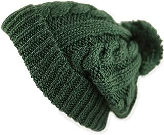 Women Winter Oversized Chunky Thick Stretchy Knitted Pom Pom Beanie Fleece Lined Beanie Hat