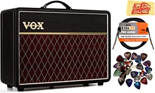 Vox AC10C1 Custom Guitar Amplifier Bundle with Instrument Cable, Headphones, Picks, and Austin Bazaar Polishing Cloth