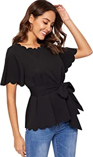 Women's Bow Self Tie Scalloped Cut Out Elegant Office Work Tunic Blouse Top