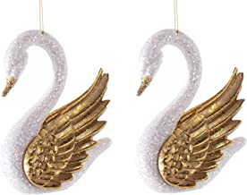 Katherine's Collection Christmas White Glitter Swans Golden Wings PAIR One Price