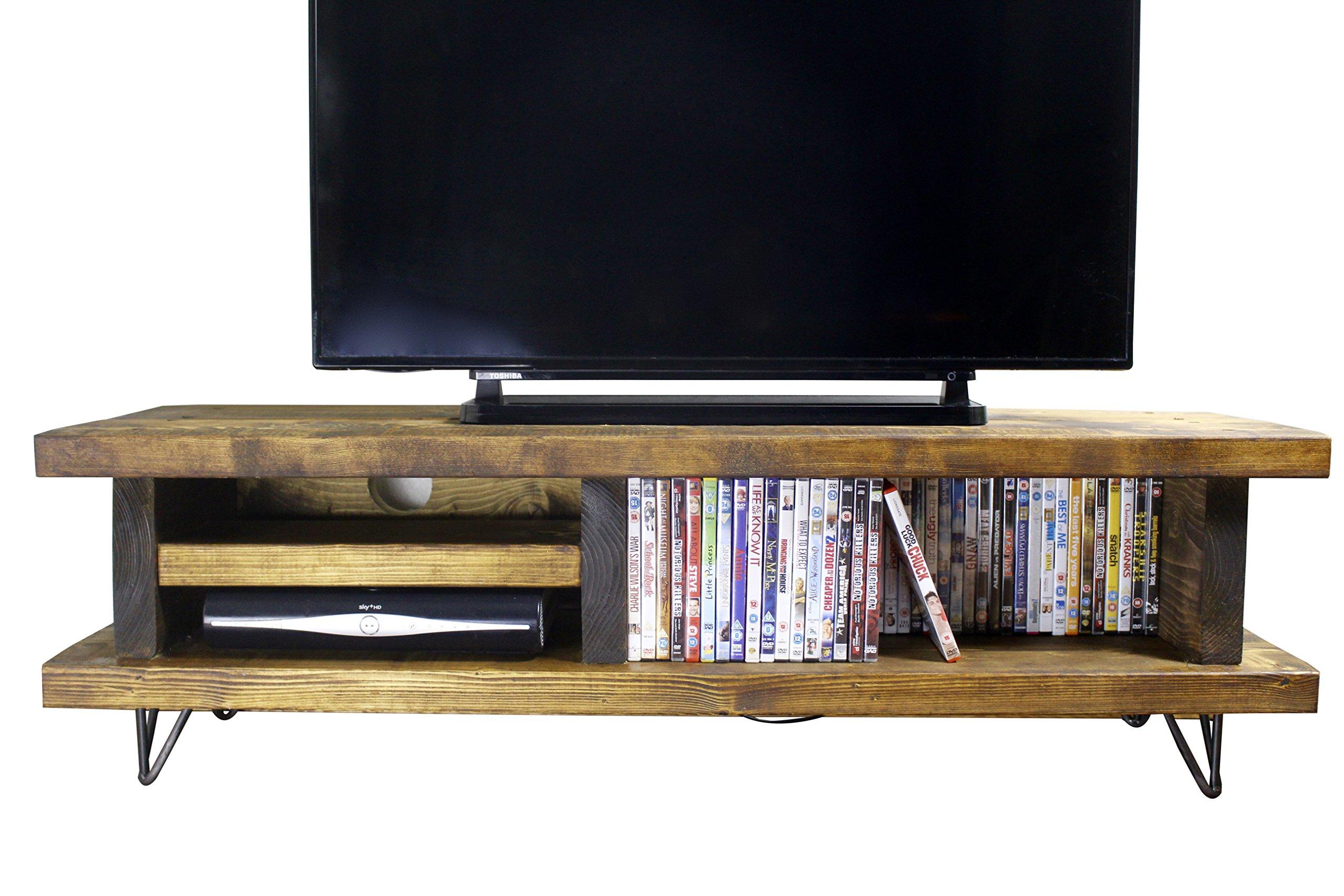Madera Maciza rústica Hecha a Mano de Pino Blissford TV Unit/Stand, Acabado en Roble Grueso Country 110cm Long Roble Oscuro: Amazon.es: Electrónica
