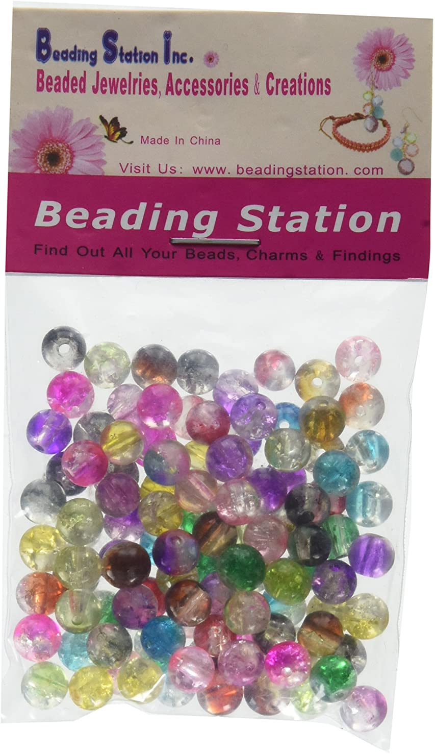 Beading Station 100-Piece Multicolor Tiny Lampwork Crackle Glass Round Beads, 6mm