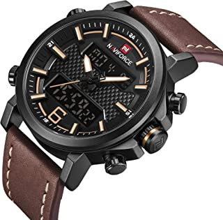 Mens Digital Analog Watches Waterproof Sport Leather Band Watch with Alarm Dual Display Date Wristwatch for Man Gift