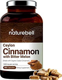 NatureBell Organic Ceylon Cinnamon Supplements, 1800mg Per Serving, 180 Capsules, Powerfully Support Sugar Metabolism, Hea...