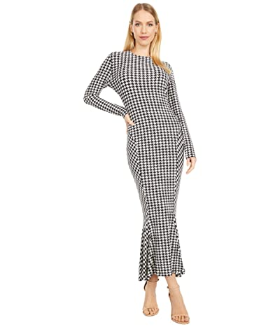 KAMALIKULTURE by Norma Kamali Long Sleeve Crew Fishtail Dress to Midcalf (Large Check) Women