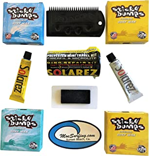 Sticky Bumps Wax Plus Solarez UV Cure Resin Ding Repair Kit Now Includes a Futures Fin Key, 2 Bars of Tropical Wax, 1 Base...