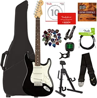 Fender Player Stratocaster, Pau Ferro - Black Bundle with Gig Bag, Stand, Cable, Tuner, Strap, Strings, Picks, Capo, Fender Play Online Lessons, and Austin Bazaar Instructional DVD
