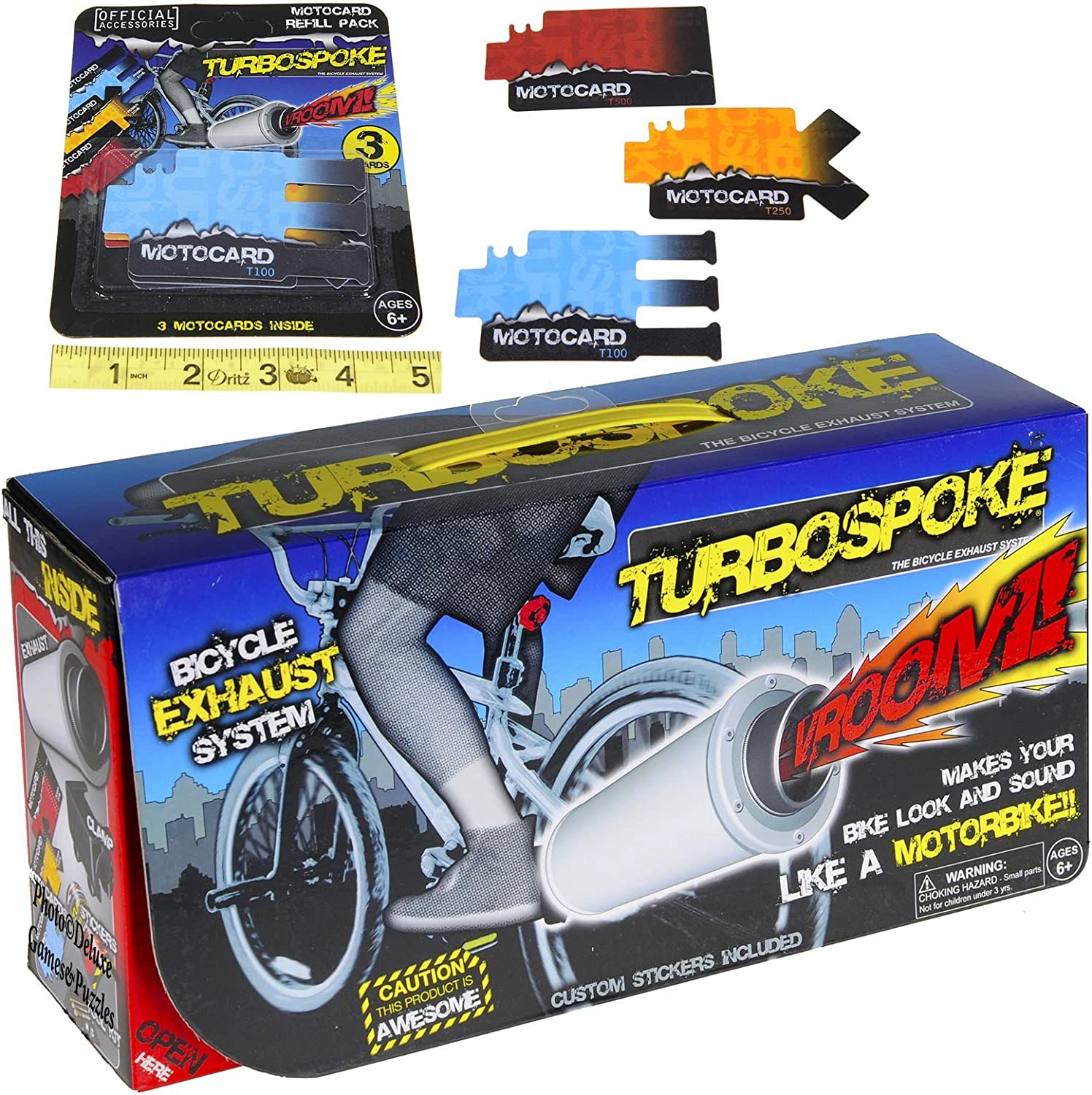 TurboSpoke Bicycle Exhaust System AddOn Accessory _ with BONUS MotoCard Refill 3Pack _ Bundle