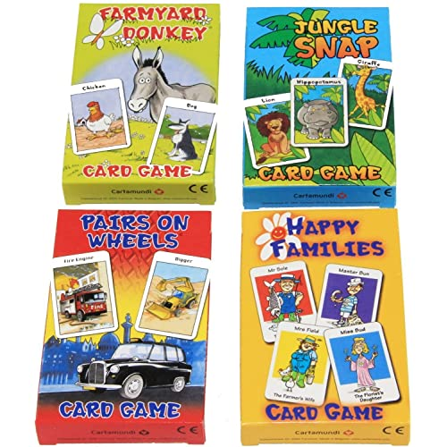 FOUR X CARD GAMES FOR CHILDREN- 4 PACKS OF FUN! GREAT GIFT! INCLUDES- HAPPY FAMILIES/FARMYARD DONKEY/JUNGLE SNAP/PAIRS ON WHEELS
