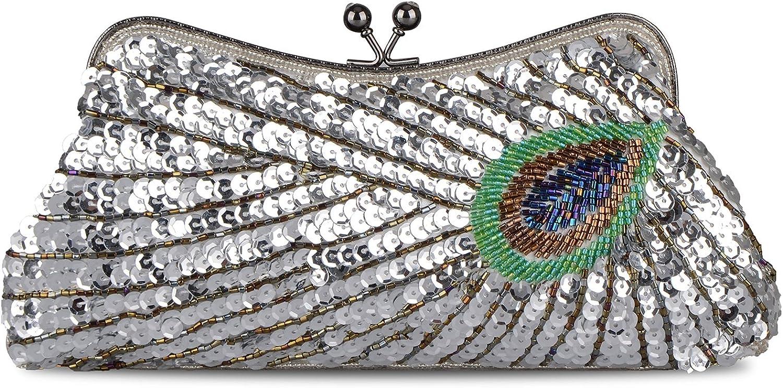 Baglamor Women's Kiss Lock Clutch Sequin Purse Peacock Clutch Bag