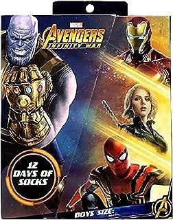Boys Marvel Avengers Infinity War 12 Days Christmas 12pk Socks