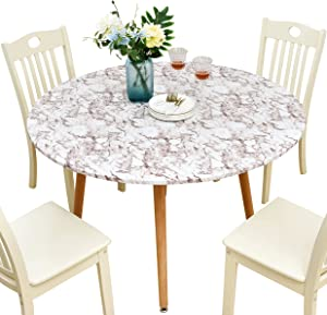Rally Home Goods Indoor Outdoor Patio Round Fitted Vinyl Tablecloth, Flannel Backing, Elastic Edge, Waterproof Wipeable Plastic Cover, Beige Marble Pattern for 6-Seat Table of 43-56'' Diameter