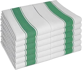 Luxury Dish Cloths 12 Pack by SMARTZ; Large size 70x50 centimeters with Hanging Loop; Long Lasting, Absorbent Cotton Dishcloth in White with Green Stripes in Herringbone Pattern; Low Lint Drying