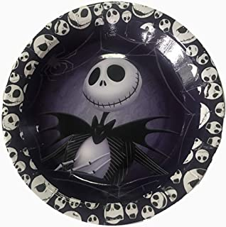 """Party Over Here Jack Skellington Plates, Round 7"""" inch for Cakes or appetizers, 10 Piece Paper Plates,Nightmare Before Christmas, Halloween, Skeleton"""