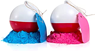 Gender Reveal Fishing Ball 2 Pack | Pink & Blue Set | Exploding Powder Red and White Fishing Bobber Lure | Gender Reveal P...