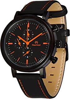 Maui Kool Steel and Wood Hybrid Chronograph Watch for Men Wailea Collection Leather Band Bamboo Box