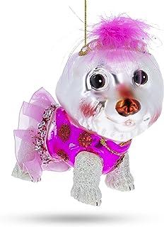 BestPysanky Bichon Frise Glass Christmas Ornament