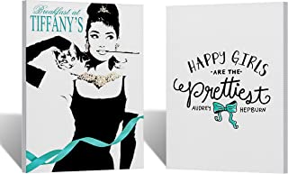 Audrey Hepburn Wall Art Quote with Cat Two Piece Canvas Print Set Teal Blue Breakfast at Tiffany`s Modern Decoration Modern Home Decor Stretched and Ready to Hang - 17x11