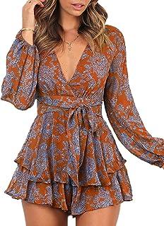 Women's Jumpsuit Floral Print V Neck Baggy Sleeve Waist...