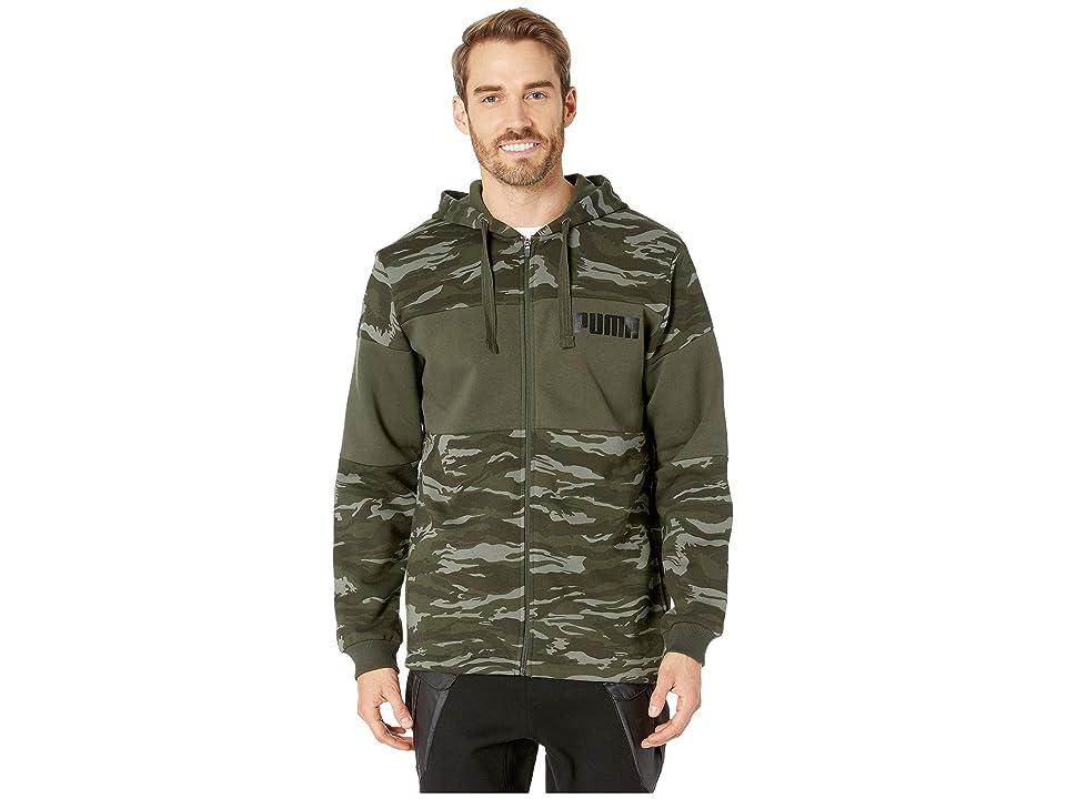 PUMA Camo Foil Full Zip Fleece Hoodie (Forest Night) Men