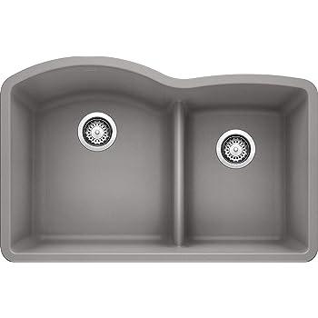 "BLANCO, Metallic Gray 441592 DIAMOND SILGRANIT 60/40 Double Bowl with Low Divide Undermount Kitchen Sink, 32"" X 21"""