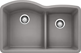 BLANCO 441592 DIAMOND SILGRANIT Double Bowl Undermount Kitchen Sink with Low Divide, Metallic Gray
