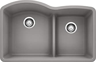 BLANCO 441592 DIAMOND SILGRANIT Double Bowl Undermount Kitchen Sink with Low Divide, Metallic Gray