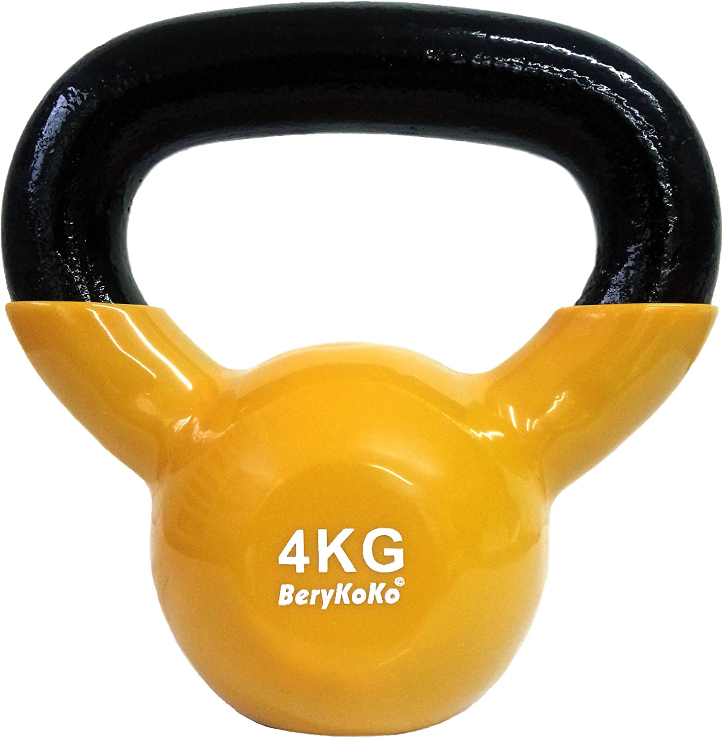 BeryKoKo Kettlebell (color Yellow 4kg) Coating Exercise genuine 18month Warranty 4kg 6kg 8kg 10kg 12kg 16kg 20kg 24kg Body stem Training Muscle Training Strength Training Shape up ([h] 4kg (Yellow))
