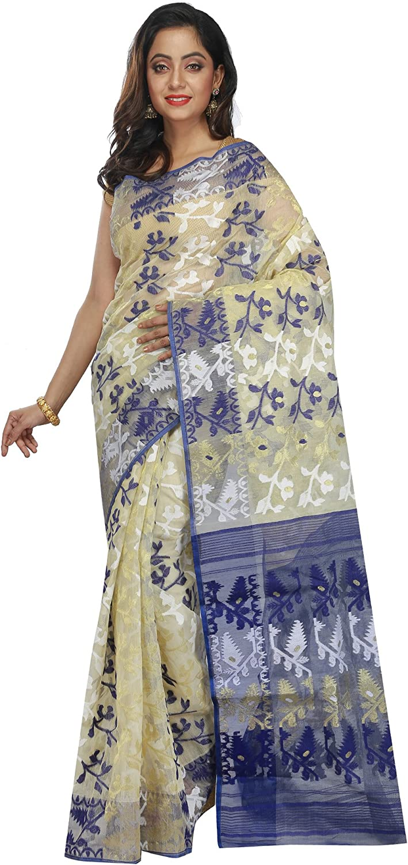 B3Fashion Cotton Silk Saree (Ags651_Offwhite)