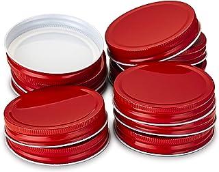 KooK Mason Jar Lids, Wide Mouth, Pack of 12. (red)