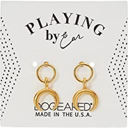 Dogeared - Playing By Ear Wing Lip Card Ring with Crescent Studs