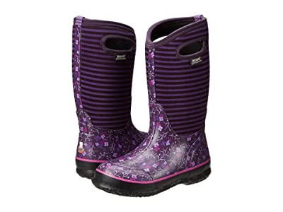 Bogs Kids Classic Flower Stripe (Toddler/Little Kid/Big Kid) (Purple Multi) Girls Shoes