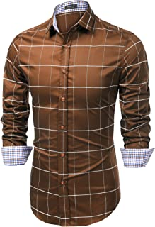 Men's Fashion Long Sleeve Plaid Button Down Shirts Casual Dress Shirt