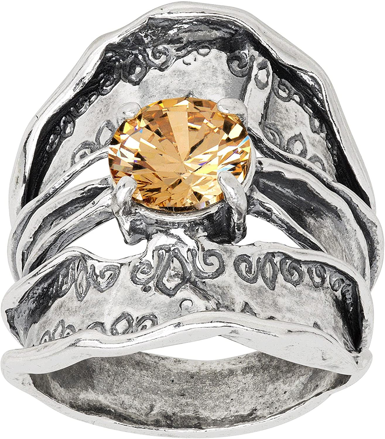 security Silpada 'Dayflower' Yellow Cubic Zirconia Textured Ring Sterl Philadelphia Mall in