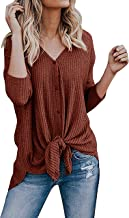 Aifer Womens Waffle Knit Tunic Blouse Tie Knot Henley Tops Loose Fitting Bat Wing Plain Shirts