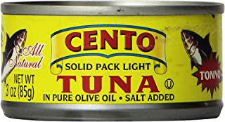Cento Solid Packed Tuna in Olive Oil, 3-Ounce Cans (Pack of 24)