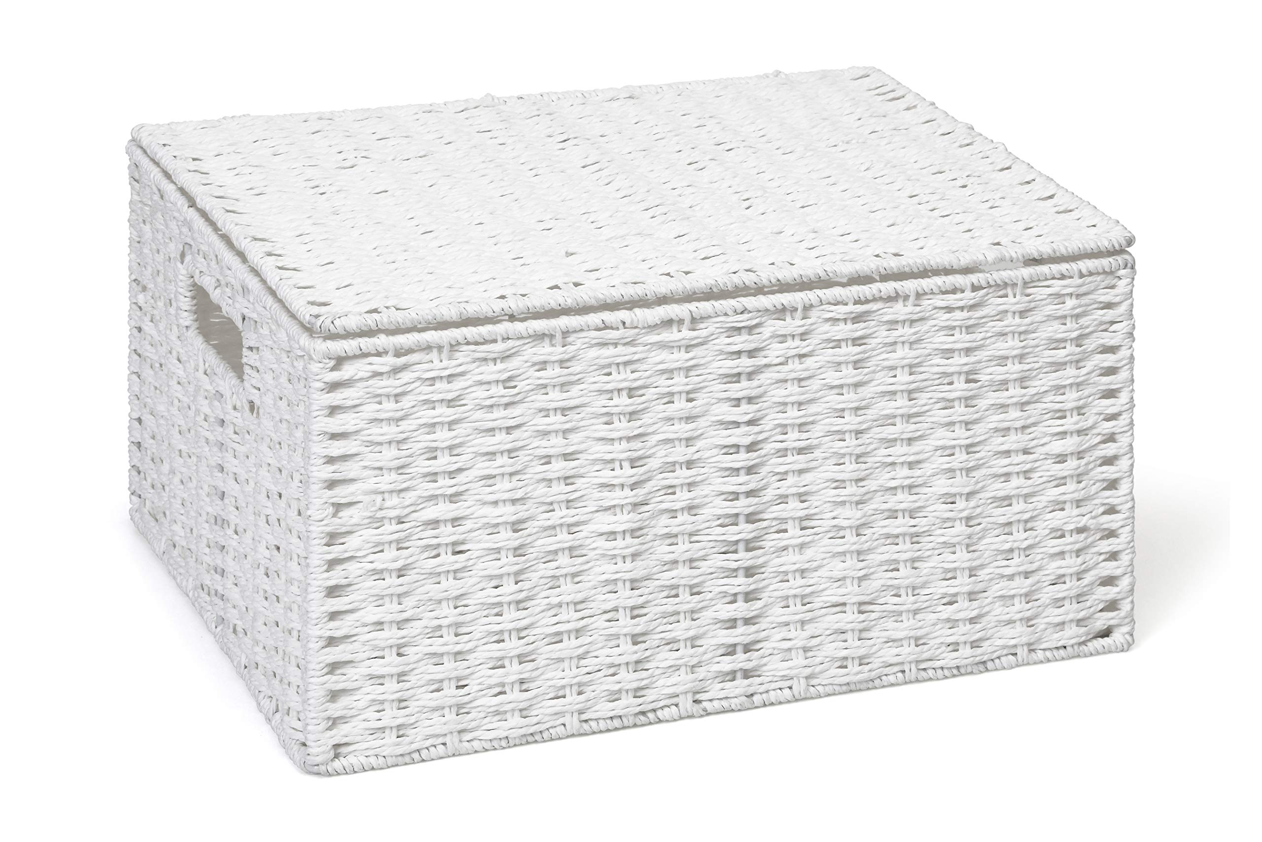 Arpan Small Resin Woven Storage Basket Box With Lid /& Lock Black