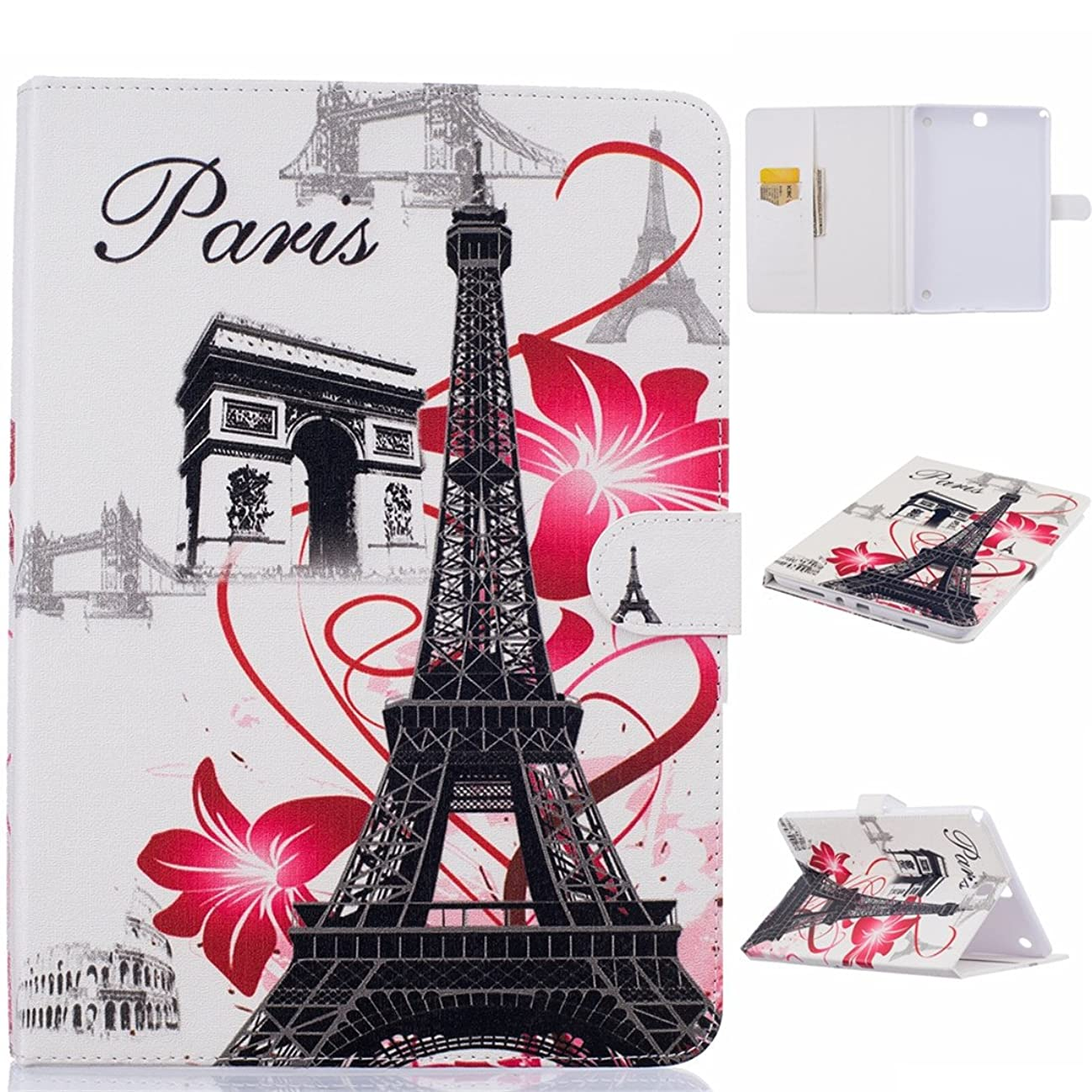 Galaxy Tab A 9.7 Case, Love Sound PU Leather Slim Fit Shell Stand Folio Protective Case with Card Holders & Cash Slot Magnet Cover for Samsung Galaxy Tab A 9.7 Inch Tablet SM-T550, Paris