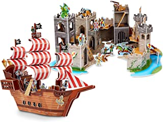 Melissa & Doug 3-D Puzzle Kits Set: Pirate Ship and Medieval Castle
