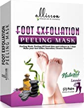 Allisson Exfoliating Foot Peel Mask Booties 2 Pack, Callus Remover Gel, Moisturizing & Repair Rough Dry Cracked Heels, Treatment for Dead Skin Peeling Off Spa Socks, Smooth Soft Baby Feet in 7 Days