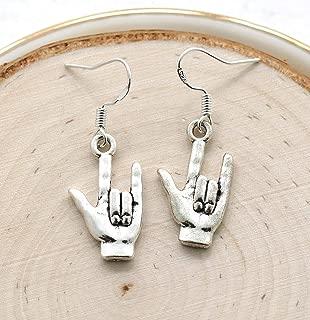 ASL Earrings for Women - 925 Sterling Silver Hooks - Sign Language Interpreter - Deaf Jewelry - I Love You Earrings