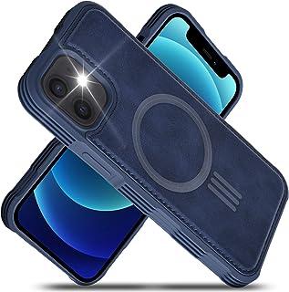 Migeec Funda de Piel sintética Compatible con iPhone 12 Mini de 5,4 Pulgadas, Carga magnética, Reforzada a Prueba de Golpe...
