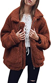 ECOWISH Women's Coat Casual Lapel Fleece Fuzzy Faux Shearling Zipper Warm Winter Oversized Outwear Jackets
