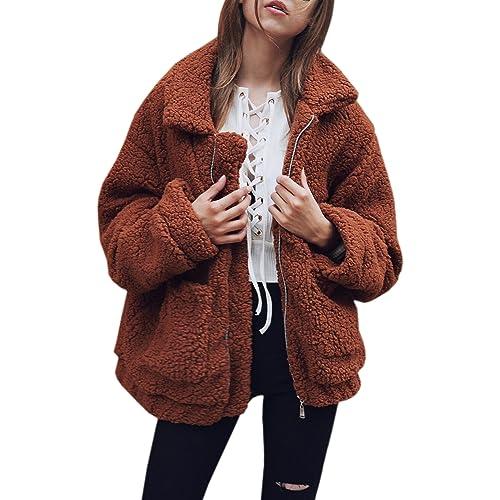 Missli Womens Warm Winter Coat Shaggy Faux Fur Soft Jacket Outerwear