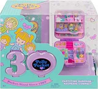 Polly Pocket 30th Anniversary Partytime Surprise Keepsake Compact with Micro Polly Doll, Mini Commemorative Magazine and Keepsake Gift Box; for Ages 4 and Up [Amazon Exclusive]
