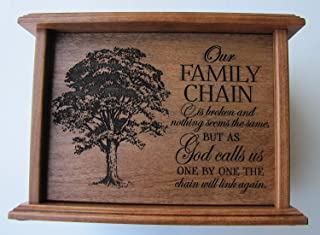 LifeSong Milestones Cremation Urn for Human Ashes for Adult Men and Women Made of Solid Cherry Wood Laser Engraved Verse Our Family Chain is Broken